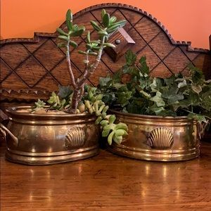 Vintage brass containers planters
